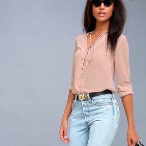 LULUS   Blouse Style Education Blush Pink Medium